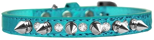 Silver Spike and Clear Jewel Croc Dog Collar Turquoise Size 10